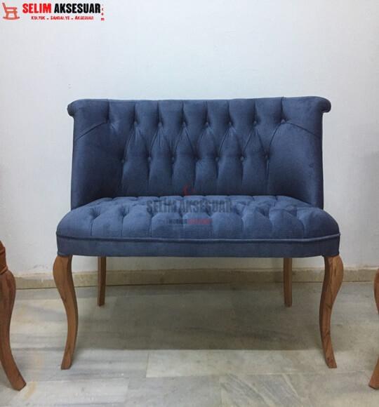 Olem Mini Berjer Takımı Hardal Mavi Kadife